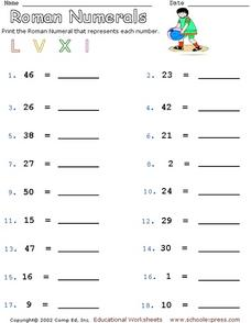 Roman Numerals - Converting Standard Numbers to Roman Numerals Worksheet