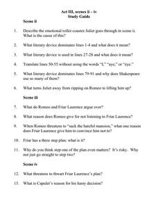 romeo and juliet act iii scene ii iv study guide 8th 9th grade worksheet lesson planet. Black Bedroom Furniture Sets. Home Design Ideas