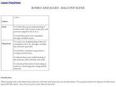 Romeo and Juliet-Balcony Scence Lesson Plan