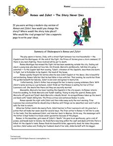 Romeo And Juliet-- The Story Never Dies Lesson Plan