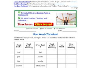 Root Words Worksheet Worksheet