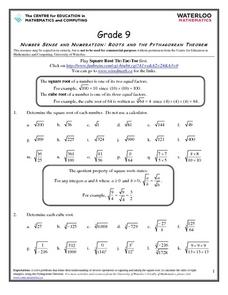 Roots and the Pythagorean Theorem Worksheet