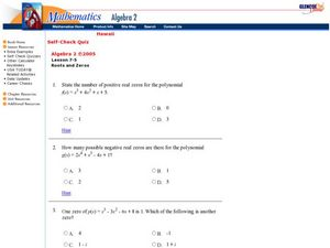 Roots and Zeros Worksheet