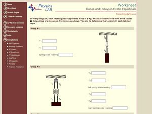 Ropes and Pulleys in Static Equilibrium Worksheet