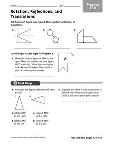 Rotation, Reflections and Translations - Practice 17.2 Worksheet