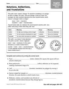 Rotations, Reflections, and Translations: ELL Worksheet