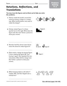 Rotations, Reflections and Translations - Problem Solving 17.2 Worksheet
