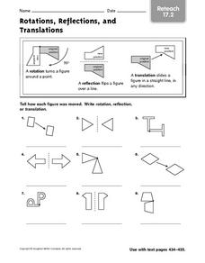 rotations reflections and translations reteach 17 2 4th 6th grade worksheet lesson planet. Black Bedroom Furniture Sets. Home Design Ideas