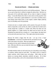 Round and Round--Wheels and Axles Worksheet