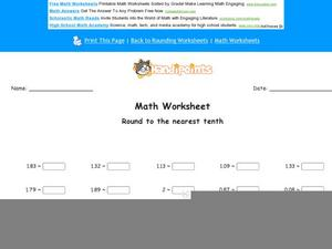 Round to the Nearest Tenth Worksheet