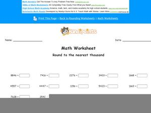 Round to the Nearest Thousand: Part 1 Worksheet