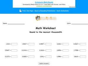 Round to the Nearest Thousandth: Part 4 Worksheet