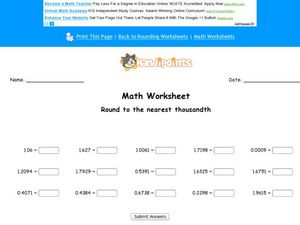 Round to the Nearest Thousandth Worksheet