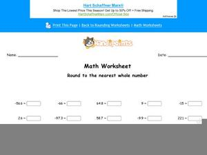 Round to the Nearest Whole Number Part 10 Worksheet
