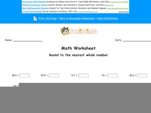 Round to the Nearest Whole Number Part 8 Worksheet