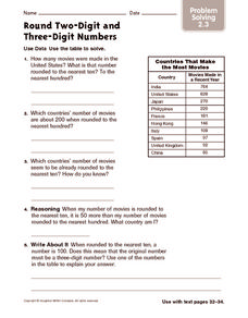 Round Two Digit and Three Digit Numbers: Problem Solving Worksheet