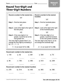 Round Two-Digit and Three-Digit Numbers Reteach 2.3 Worksheet