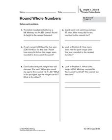 Round Whole Numbers Worksheet