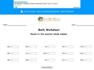 Rounding Positive and Negative Numbers to the Nearest Whole Number Worksheet