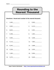 Rounding to the Nearest Thousand Worksheet