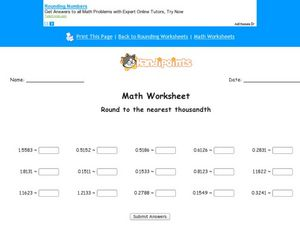 Rounding to the Nearest Thousandth Worksheet