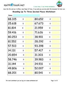 Rounding Up To Three Decimal Places Worksheet