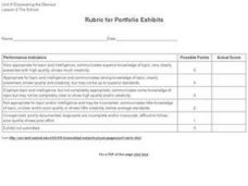 Rubric for Portfolio Exhibits Worksheet