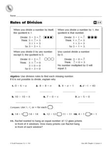 Rules of Division- Reteaching Worksheet Worksheet