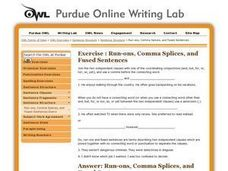 Run-ons, Comma Splices and Fused Sentences Worksheet