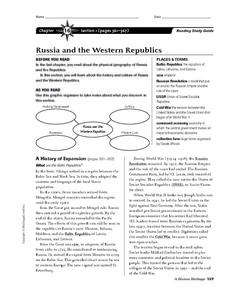 Russia and the Western Republics Worksheet