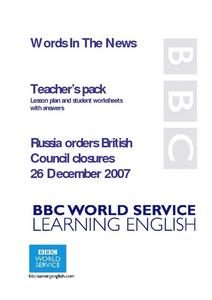 Russia orders British Council closures Lesson Plan