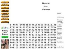 Russia: Word Search Worksheet