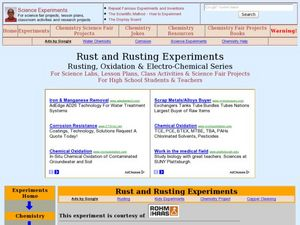 Rusting:  A Form of Oxidation Lesson Plan