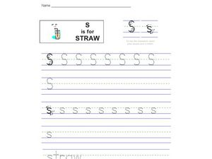 S is for Straw Worksheet