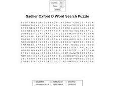 Sadlier Oxford D Word Search Puzzle Worksheet