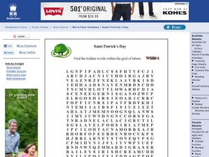 Saint Patrick's Day Wordsearch Worksheet