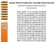 Salem Witch Trails/The Crucible Word Search Worksheet