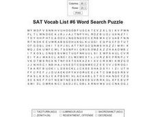 SAT Vocab List #6 Word Search Puzzle Worksheet