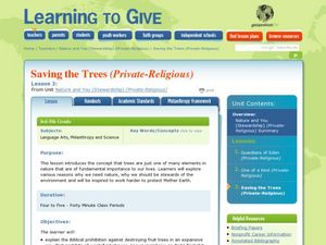 Saving the Trees Lesson Plan