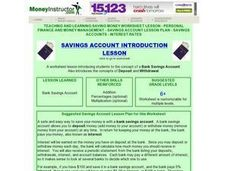 Savings Account Introduction Lesson Lesson Plan