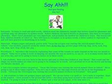 Say Ahh!! Lesson Plan
