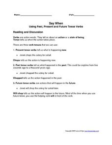 Say When: Using Past, Present and Future Tense Verbs Worksheet