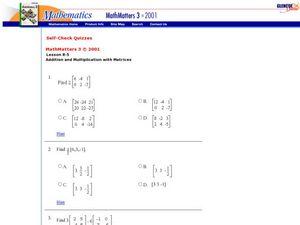 math worksheet : scalar multiplication of matrices 9th  12th grade worksheet  : Matrix Multiplication Worksheet