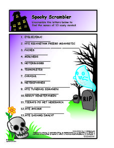 Scary Movies Word Scramble for Halloween Worksheet