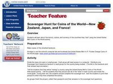 Scavenger Hunt for Coins of the World--New Zealand, Japan and France! Lesson Plan