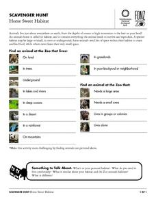 Scavenger Hunt: Home Sweet Habitat Worksheet