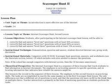 Scavenger Hunt II Lesson Plan