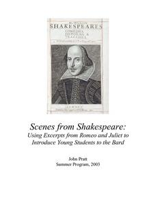 Scenes from Shakespeare:Using Excerpts from Romeo and Juliet to Introduce Young Students to the Bard Lesson Plan