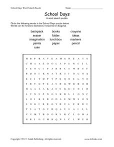 School Days:  Word Search Puzzle Worksheet