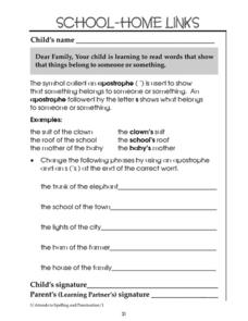 School-Home Links: Apostrophe Usage Worksheet